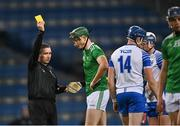 13 December 2020; Referee Fergal Horgan issues a yellow card to William O'Donoghue of Limerick during the GAA Hurling All-Ireland Senior Championship Final match between Limerick and Waterford at Croke Park in Dublin. Photo by Piaras Ó Mídheach/Sportsfile