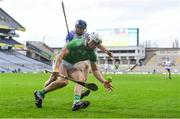 13 December 2020; Aaron Gillane of Limerick in action against Conor Prunty of Waterford during the GAA Hurling All-Ireland Senior Championship Final match between Limerick and Waterford at Croke Park in Dublin. Photo by Piaras Ó Mídheach/Sportsfile