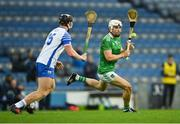 13 December 2020; Aaron Gillane of Limerick in action against Iarlaith Daly of Waterford during the GAA Hurling All-Ireland Senior Championship Final match between Limerick and Waterford at Croke Park in Dublin. Photo by Piaras Ó Mídheach/Sportsfile