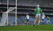 13 December 2020; Waterford goalkeeper Stephen O'Keeffe makes a save from a shot by Cian Lynch of Limerick, right, during the GAA Hurling All-Ireland Senior Championship Final match between Limerick and Waterford at Croke Park in Dublin. Photo by Piaras Ó Mídheach/Sportsfile
