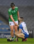 13 December 2020; Peter Casey of Limerick consoles Jamie Barron of Waterford after the GAA Hurling All-Ireland Senior Championship Final match between Limerick and Waterford at Croke Park in Dublin. Photo by Brendan Moran/Sportsfile