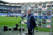13 December 2020; Limerick manager John Kiely is interviewed by Sky Sports prior to the GAA Hurling All-Ireland Senior Championship Final match between Limerick and Waterford at Croke Park in Dublin. Photo by Brendan Moran/Sportsfile