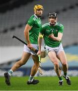 13 December 2020; Declan Hannon, right, and Dan Morrissey of Limerick during the GAA Hurling All-Ireland Senior Championship Final match between Limerick and Waterford at Croke Park in Dublin. Photo by Ramsey Cardy/Sportsfile
