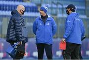 12 December 2020; Leinster A management, from left, sub-academy lead athletic performance coach David Fagan, head coach Noel McNamara, and elite development officer Denis Leamy following the A Interprovincial Friendly match between Leinster A and Connacht Eagles at Energia Park in Dublin. Photo by Ramsey Cardy/Sportsfile