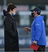 12 December 2020; Leinster A Elite player development officer Denis Leamy, right, in conversation with Alex Soroka of Leinster A following the A Interprovincial Friendly match between Leinster A and Connacht Eagles at Energia Park in Dublin. Photo by Ramsey Cardy/Sportsfile