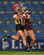 12 December 2020; Grace Walsh of Kilkenny in action against Niamh Hanniffy of Galway during the Liberty Insurance All-Ireland Senior Camogie Championship Final match between Galway and Kilkenny at Croke Park in Dublin. Photo by Piaras Ó Mídheach/Sportsfile