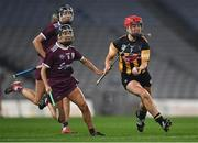 12 December 2020; Grace Walsh of Kilkenny in action against Aoife Donohue and Siobhán Gardiner, behind, of Galway during the Liberty Insurance All-Ireland Senior Camogie Championship Final match between Galway and Kilkenny at Croke Park in Dublin. Photo by Piaras Ó Mídheach/Sportsfile