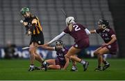 12 December 2020; Collette Dormer of Kilkenny in action against Galway players, from left, Niamh Kilkenny, Shauna Healy, and Aoife Donohue during the Liberty Insurance All-Ireland Senior Camogie Championship Final match between Galway and Kilkenny at Croke Park in Dublin. Photo by Piaras Ó Mídheach/Sportsfile