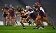12 December 2020; Denise Gaule of Kilkenny in action against Shauna Healy, left, and Emma Helebert of Galway during the Liberty Insurance All-Ireland Senior Camogie Championship Final match between Galway and Kilkenny at Croke Park in Dublin. Photo by Piaras Ó Mídheach/Sportsfile