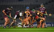 12 December 2020; Players try to find the loose ball during the Liberty Insurance All-Ireland Senior Camogie Championship Final match between Galway and Kilkenny at Croke Park in Dublin. Photo by Piaras Ó Mídheach/Sportsfile