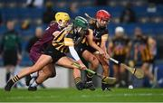 12 December 2020; Siobhán McGrath of Galway in action against Michelle Teehan, left, and Grace Walsh of Kilkenny during the Liberty Insurance All-Ireland Senior Camogie Championship Final match between Galway and Kilkenny at Croke Park in Dublin. Photo by Piaras Ó Mídheach/Sportsfile