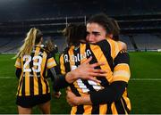 12 December 2020; Kilkenny players Davina Tobin, behind, and Anne Dalton celebrate after the Liberty Insurance All-Ireland Senior Camogie Championship Final match between Galway and Kilkenny at Croke Park in Dublin. Photo by Piaras Ó Mídheach/Sportsfile