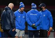 18 December 2020; Leinster A head coach Noel McNamara, 2nd from left, with coaching staff including sub-academy lead athletic performance coach David Fagan, left, and Leinster A Elite player development officer Denis Leamy after the A Interprovincial Friendly match between Munster A and Leinster A at Thomond Park in Limerick. Photo by Brendan Moran/Sportsfile