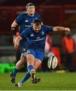 18 December 2020; David Hawkshaw of Leinster kicks a penalty during the A Interprovincial Friendly match between Munster A and Leinster A at Thomond Park in Limerick. Photo by Brendan Moran/Sportsfile