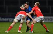 18 December 2020; Rowan Osborne of Leinster is tackled by Alex Kendellen, left, and Ben Murphy of Munster during the A Interprovincial Friendly match between Munster A and Leinster A at Thomond Park in Limerick. Photo by Brendan Moran/Sportsfile