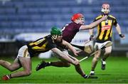 18 December 2020; TJ Brennan of Galway gathers possession ahead of Eoin Cody of Kilkenny during the Bord Gáis Energy Leinster Under 20 Hurling Championship Semi-Final match between Kilkenny and Galway at MW Hire O'Moore Park in Portlaoise, Laois. Photo by Piaras Ó Mídheach/Sportsfile
