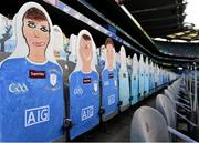 19 December 2020; A general view of Dublin 'Supporters' drawn and coloured by school children from Dublin prior to the EirGrid GAA Football All-Ireland Under 20 Championship Final match between Dublin and Galway at Croke Park in Dublin. Photo by Sam Barnes/Sportsfile