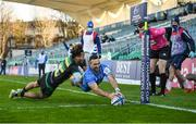 19 December 2020; Dave Kearney of Leinster scores his side's third try despite the attempted tackle from Ryan Olowofela of Northampton Saints during the Heineken Champions Cup Pool A Round 2 match between Leinster and Northampton Saints at the RDS Arena in Dublin. Photo by David Fitzgerald/Sportsfile