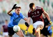 19 December 2020; Matthew Tierney of Galway gets his shot away under pressure from Mark Lavin of Dublin during the EirGrid GAA Football All-Ireland Under 20 Championship Final match between Dublin and Galway at Croke Park in Dublin. Photo by Sam Barnes/Sportsfile