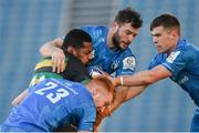 19 December 2020; Taqele Naiyaravoro of Northampton Saints is tackled by Ciarán Frawley, left, Robbie Henshaw, centre, and Luke McGrath of Leinster during the Heineken Champions Cup Pool A Round 2 match between Leinster and Northampton Saints at the RDS Arena in Dublin. Photo by Ramsey Cardy/Sportsfile