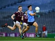 19 December 2020; Lorcan O'Dell of Dublin races past Conor Raftery of Galway, on his way to score his side's eighth point in the 42nd minute, during the EirGrid GAA Football All-Ireland Under 20 Championship Final match between Dublin and Galway at Croke Park in Dublin. Photo by Ray McManus/Sportsfile