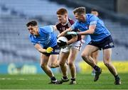 19 December 2020; Alan Greene of Galway in action against Conor Tyrrell, left, and Mark O'Leary of Dublin during the EirGrid GAA Football All-Ireland Under 20 Championship Final match between Dublin and Galway at Croke Park in Dublin. Photo by Piaras Ó Mídheach/Sportsfile