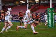 19 December 2020; Billy Burns of Ulster on his way to scoring his side's first try during the Heineken Champions Cup Pool B Round 2 match between Gloucester and Ulster at Kingsholm Stadium in Gloucester, England. Photo by Harry Murphy/Sportsfile