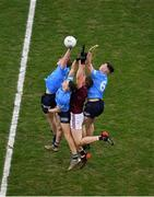 19 December 2020; Conor Raftery of Galway in action against Dublin players, left to right, Adam Fearon, Lee Gannon, and Adam Waddick during the EirGrid GAA Football All-Ireland Under 20 Championship Final match between Dublin and Galway at Croke Park in Dublin. Photo by Daire Brennan/Sportsfile