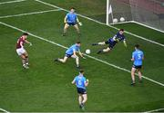 19 December 2020; Tomo Culhane of Galway scores his side's first goal during the EirGrid GAA Football All-Ireland Under 20 Championship Final match between Dublin and Galway at Croke Park in Dublin. Photo by Daire Brennan/Sportsfile