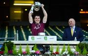 19 December 2020; Jack Glynn of Galway lifting the cup following the EirGrid GAA Football All-Ireland Under 20 Championship Final match between Dublin and Galway at Croke Park in Dublin. Photo by Eóin Noonan/Sportsfile