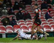 19 December 2020; Michael Lowry of Ulster dives over to score his side's second try during the Heineken Champions Cup Pool B Round 2 match between Gloucester and Ulster at Kingsholm Stadium in Gloucester, England. Photo by Harry Murphy/Sportsfile