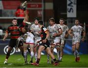 19 December 2020; Jacob Stockdale of Ulster competes for a high ball with Kyle Moyle of Gloucester during the Heineken Champions Cup Pool B Round 2 match between Gloucester and Ulster at Kingsholm Stadium in Gloucester, England. Photo by Harry Murphy/Sportsfile