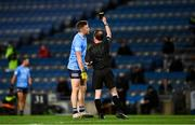 19 December 2020; Robert McDaid of Dublin is shown a black card by referee David Coldrick, on the stroke of half time, during the GAA Football All-Ireland Senior Championship Final match between Dublin and Mayo at Croke Park in Dublin. Photo by Ray McManus/Sportsfile