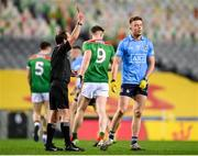 19 December 2020; Referee David Coldrick issues a black card to Robert McDaid of Dublin during the GAA Football All-Ireland Senior Championship Final match between Dublin and Mayo at Croke Park in Dublin. Photo by Stephen McCarthy/Sportsfile
