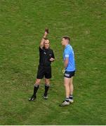 19 December 2020; Referee David Coldrick shows Robert McDaid of Dublin a black card during the GAA Football All-Ireland Senior Championship Final match between Dublin and Mayo at Croke Park in Dublin. Photo by Daire Brennan/Sportsfile