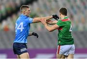 19 December 2020; Paul Mannion of Dublin tussles with Lee Keegan of Mayo during the GAA Football All-Ireland Senior Championship Final match between Dublin and Mayo at Croke Park in Dublin. Photo by Eóin Noonan/Sportsfile
