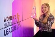 20 December 2020; Ellen Molloy of Wexford Youths poses with her Young Player of the Season award during the 2020 Women's National League Awards at the eir Sport Studios in Dublin. Photo by Stephen McCarthy/Sportsfile