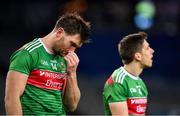 19 December 2020; Aidan O'Shea, left, and Lee Keegan of Mayo following their side's defeat during the GAA Football All-Ireland Senior Championship Final match between Dublin and Mayo at Croke Park in Dublin. Photo by Seb Daly/Sportsfile