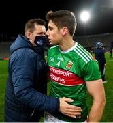 19 December 2020; Dublin manager Dessie Farrell and Lee Keegan of Mayo following the GAA Football All-Ireland Senior Championship Final match between Dublin and Mayo at Croke Park in Dublin. Photo by Eóin Noonan/Sportsfile