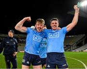 19 December 2020; Seán Bugler, left, and Brian Howard of Dublin celebrate following their side's victory in the GAA Football All-Ireland Senior Championship Final match between Dublin and Mayo at Croke Park in Dublin. Photo by Seb Daly/Sportsfile
