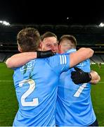 19 December 2020; Philip McMahon of Dublin, centre, celebrates with team-mates Michael Fitzsimons, left, and Robert McDaid following their side's victory during the GAA Football All-Ireland Senior Championship Final match between Dublin and Mayo at Croke Park in Dublin. Photo by Seb Daly/Sportsfile