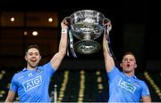 19 December 2020; Dean Rock, left, and Ciarán Kilkenny of Dublin lift the Sam Maguire Cup following the GAA Football All-Ireland Senior Championship Final match between Dublin and Mayo at Croke Park in Dublin. Photo by Stephen McCarthy/Sportsfile