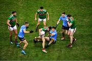 19 December 2020; Lee Keegan of Mayo in action against Michael Fitzsimons of Dublin during the GAA Football All-Ireland Senior Championship Final match between Dublin and Mayo at Croke Park in Dublin. Photo by Daire Brennan/Sportsfile