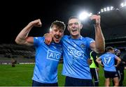 19 December 2020; Seán Bugler, left, and Brian Fenton of Dublin celebrate following the GAA Football All-Ireland Senior Championship Final match between Dublin and Mayo at Croke Park in Dublin. Photo by Stephen McCarthy/Sportsfile