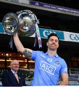 19 December 2020; Michael Darragh MacAuley of Dublin lifts the Sam Maguire Cup after the GAA Football All-Ireland Senior Championship Final match between Dublin and Mayo at Croke Park in Dublin. Photo by Ray McManus/Sportsfile