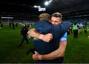 19 December 2020; Paul Mannion and Dublin manager Dessie Farrell celebrate following the GAA Football All-Ireland Senior Championship Final match between Dublin and Mayo at Croke Park in Dublin. Photo by Stephen McCarthy/Sportsfile