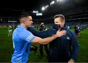 19 December 2020; Dublin manager Dessie Farrell and David Byrne during the GAA Football All-Ireland Senior Championship Final match between Dublin and Mayo at Croke Park in Dublin. Photo by Stephen McCarthy/Sportsfile