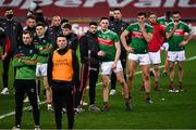19 December 2020; Mayo players including Brendan Harrison and Diarmuid O'Connor, 12, after the GAA Football All-Ireland Senior Championship Final match between Dublin and Mayo at Croke Park in Dublin. Photo by Ray McManus/Sportsfile