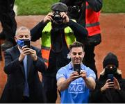 19 December 2020; Michael Darragh MacAuley of Dublin and CEO of the Dublin County Board John Costello take photos of the presentation with their smart phones after the GAA Football All-Ireland Senior Championship Final match between Dublin and Mayo at Croke Park in Dublin. Photo by Brendan Moran/Sportsfile