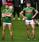 19 December 2020; Chris Barrett and Jordan Flynn of Mayo watch the presentation after the GAA Football All-Ireland Senior Championship Final match between Dublin and Mayo at Croke Park in Dublin. Photo by Ray McManus/Sportsfile